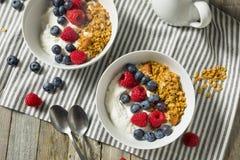 Здоровый органический греческий югурт с Granola и ягодами Стоковая Фотография