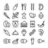 Здоровый пакет еды линии значков иллюстрация вектора