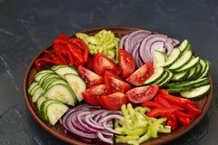 Здоровый салат томата, красного лука, перца и огурцов Стоковая Фотография RF