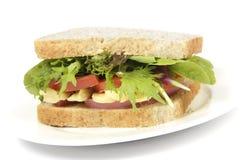 Здоровый сандвич коричневого хлеба на плите Стоковое фото RF