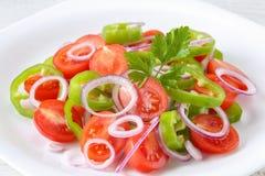Здоровый, свежий и очень вкусный vegetable салат с томатами вишни, кольца красного лука, кольца зеленого перца, петрушка и оливко Стоковые Фотографии RF