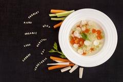 Здоровый суп вегетарианца алфавита Стоковые Изображения