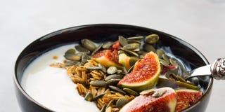 Здоровый шар югурта завтрака с granola и смоквой Стоковая Фотография RF