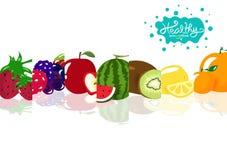 Здоровый smoothie приносит плоды сочная, органическая здоровая диета баланса собрания еды, иллюстрация вектора космоса творческог иллюстрация вектора