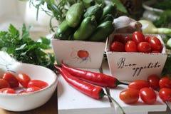 здоровье, еда, зеленый цвет, овощи, vegan, огурец, лук, chives, чеснок, комплект лука, травы, укроп, верхняя часть, верхняя часть Стоковая Фотография RF