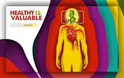 Здоровье ценно метафора с подпаливанием сердца и символом доллара показать дорого стоит боли смогите использовать для; посадка p иллюстрация вектора
