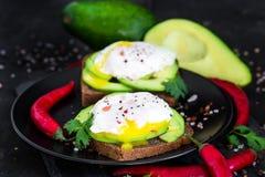 Здравицы с авокадоом и краденными яичками Стоковые Изображения RF