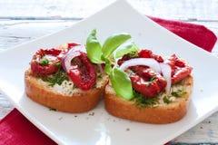 Здравицы с томатами, базиликом и луками стоковая фотография rf