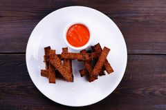 Здравицы хлеба Rye с томатным соусом Стоковое Изображение RF