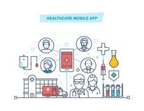 Здравоохранение передвижной app Передвижное обслуживание Медицинское здравоохранение, консультант черни медицины иллюстрация штока