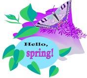 Здравствуйте!, бабочка Swallowtail весны на сирени цветет стоковое изображение