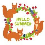 Здравствуйте! венок лета круглый с виноградиной Goji Cowberry клюквы голубики ежевики поленики клубники вишни красных белок свеже иллюстрация штока
