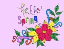 Здравствуйте! весна Розовая предпосылка иллюстрация вектора
