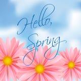 Здравствуйте! весна Яркий розовый цветок против неба с надписью иллюстрация вектора