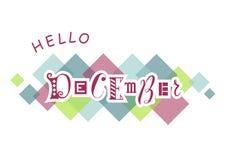 Здравствуйте! декабрь с различными письмами в пинке с белыми планами на белой предпосылке с красочными квадратами бесплатная иллюстрация