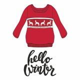 Здравствуйте! зима Vector иллюстрация с красным пуловером для дизайна и напечатайте Стоковое Фото