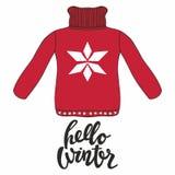 Здравствуйте! зима Vector иллюстрация с красным пуловером для дизайна и напечатайте Стоковые Изображения