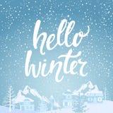 Здравствуйте! знамя зимы Стоковая Фотография RF