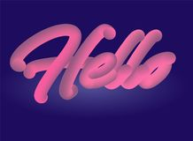 Здравствуйте! знамя предпосылки текста 3D Стоковое Изображение