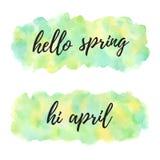 Здравствуйте иллюстрация акварели весны в апреле, предпосылка знамени стоковая фотография