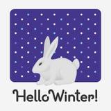 Здравствуйте карта зимнего отдыха с надписью с милым белым кроликом иллюстрация штока