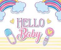 Здравствуйте! карточка младенца Стоковые Фотографии RF