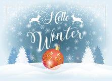 Здравствуйте! ландшафт Snowy зимнего отдыха бесплатная иллюстрация