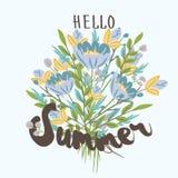 Здравствуйте!, лето Вручите вычерченный шаблон открытки с букетом голубого Стоковая Фотография