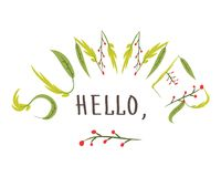 Здравствуйте!, лето Нарисованный рукой шаблон открытки плоское illust вектора Стоковые Изображения RF