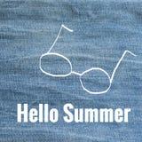 Здравствуйте! лето на голубых джинсах иллюстрация вектора