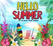 Здравствуйте! лето на Seashore позволило нам насладиться каждым плакатом момента с тропическими листьями, цветками, Surfboard иллюстрация штока