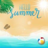 Здравствуйте! лето, предпосылка пляжа, время прохождения Стоковая Фотография RF
