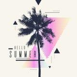 Здравствуйте! лето Современный плакат с пальмой и геометрическим графиком Стоковая Фотография