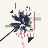 Здравствуйте! лето Современный плакат с пальмой и геометрическим графиком Стоковое Изображение RF