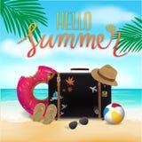 Здравствуйте! лето, сумка перемещения на предпосылке пляжа, времени прохождения Стоковое Изображение