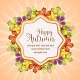 Здравствуйте! листья и канерейка осени яркие иллюстрация вектора