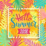 Здравствуйте! литерность 2018 лета на тропических листьях Стоковая Фотография RF