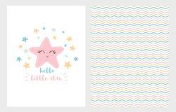 Здравствуйте! меньший комплект иллюстрации вектора звезды Дизайн нарисованный рукой Усмехаясь розовая звезда принесенный младенце иллюстрация штока