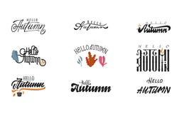 Здравствуйте! осень Каллиграфия щетки рукописного комплекта современная для поздравительной открытки приглашения и, футболки, печ Стоковое фото RF