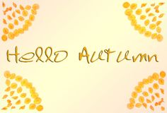 "Здравствуйте! осень Рамка осени лепестков с осенью слов ""здравствуйте "" стоковые фото"
