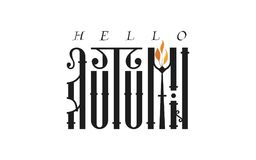 Здравствуйте! осень Рукописная современная каллиграфия щетки для поздравительной открытки приглашения и, футболки, печатей и плак Стоковое Изображение