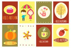 Здравствуйте! осень установленные знамена Стоковые Изображения
