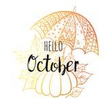 Здравствуйте! плакат в октябре с зонтиком, тыквой и листьями Мотивационная печать для календаря, планера, карточек приглашения иллюстрация вектора