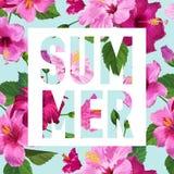 Здравствуйте! плакат лета Флористический дизайн с фиолетовыми цветками гибискуса для футболки, ткани, партии, знамени, рогульки т иллюстрация вектора