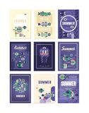 Здравствуйте!, поздравительные открытки лета установили, праздники, иллюстрации вектора перемещения и рыбной ловли, элемент дизай Стоковые Фотографии RF