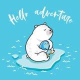 Здравствуйте приключение Иллюстрация вектора полярного медведя kawaii и милого маленького пингвина плавая на лед иллюстрация штока
