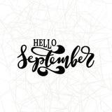 Здравствуйте! сентябрь Вдохновляющая цитата Оформление для календаря или плаката, приглашения Стоковая Фотография