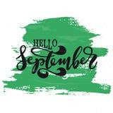 Здравствуйте! сентябрь Вдохновляющая цитата Оформление для календаря или плаката, приглашения Стоковые Фото