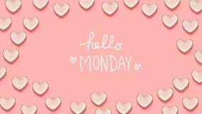 Здравствуйте! сообщение понедельника с много блюд сердца Стоковое Изображение