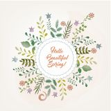 Здравствуйте! стиль поздравительной открытки весны схематичный Иллюстрация штока